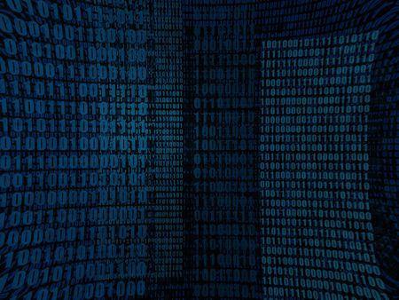 An abstract blue binary digits in several layers Stock Photo