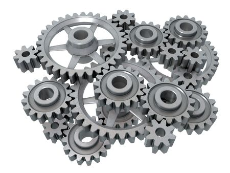 An isolated complex cogwheels mechanism on white background Stock Photo - 3740099