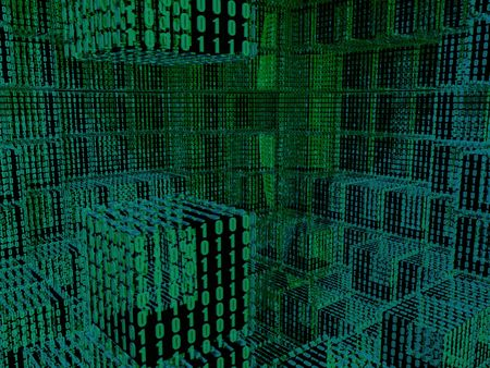 An abstract blue and green binary cubes in 3d grid
