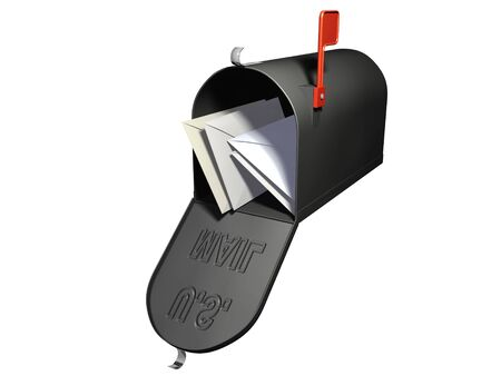 An isolated open mailbox with four letters inside on white background Stock Photo