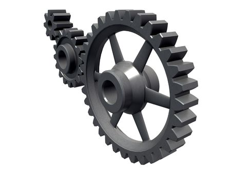 An isolated detail of three cogwheels on white background Stock Photo - 3774769