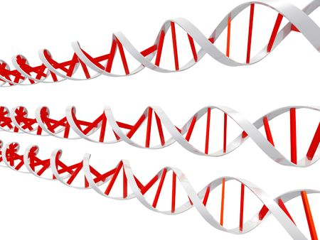 An isolated red and white dna molecules on white background
