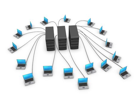 minicomputer: Network of notebooks connected to servers isolated on white background Stock Photo