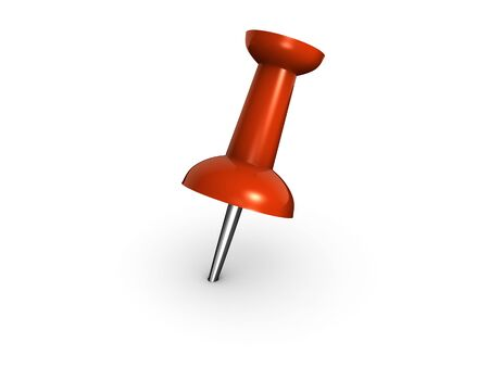 An isolated red push pin on white background