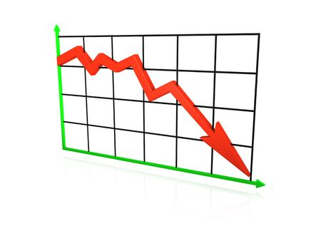 An isolated line graph going down on white background