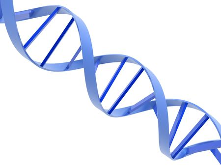 An isolated blue dna molecule on white background