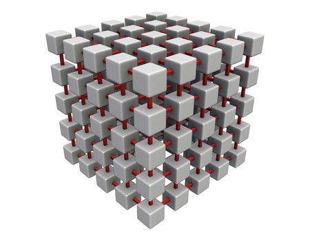 An isolated gray interconnected cube mesh on white background