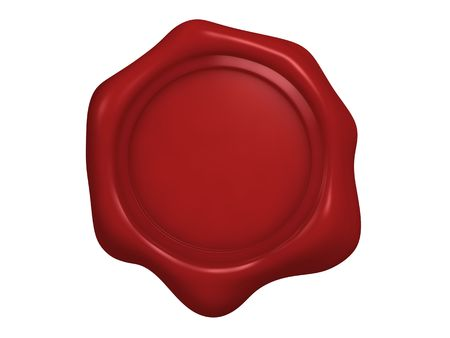 sceau cire rouge: Un isol� en blanc cachet de cire rouge sur fond blanc