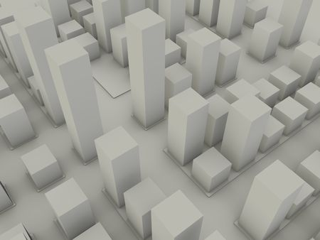An abstract cluster of city buildings of different heights