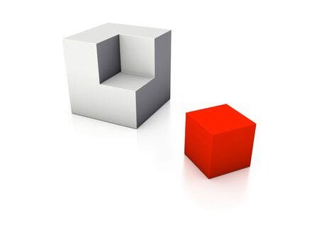 An isolated incomplete gray cube and the missing red piece on white background