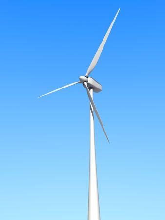 eolic: A white wind turbine against the sky