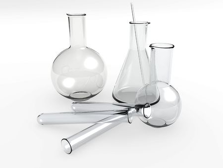 An isolated glass laboratory equipment on white background Stock Photo