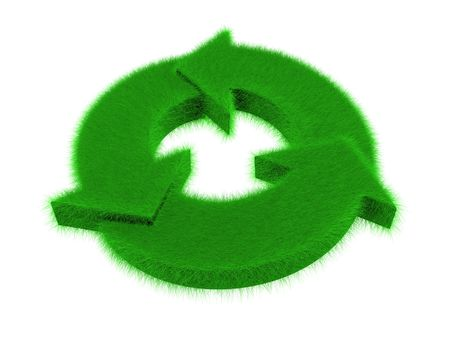 An isolated green grass recycle logo on white background Stock Photo