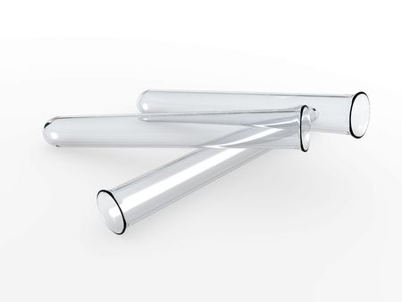 An isolated three glass test tubes on white background