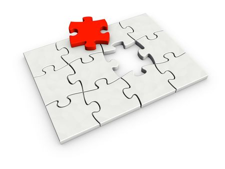 An isolated incomplete puzzle with last red piece on white background Stock Photo