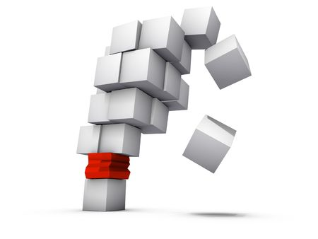 weakest: A falling structure made of gray boxes and failed weakest link isolated on white background Stock Photo