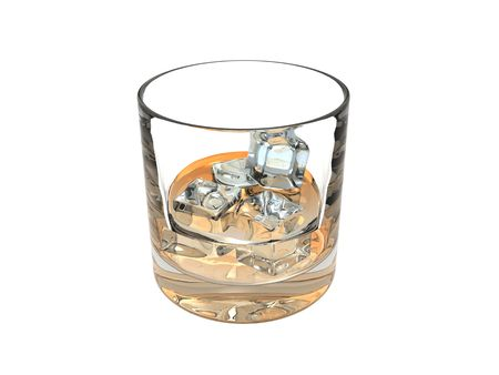 An isolated glass of whiskey on the rocks on white background