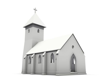 An isolated small gray church on white background