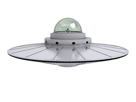 saucers: An isolated hovering gray ufo with transparent dome on white background