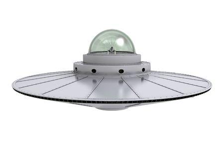 disco volante: Un ufo grigio bilico isolato con cupola trasparente su sfondo bianco