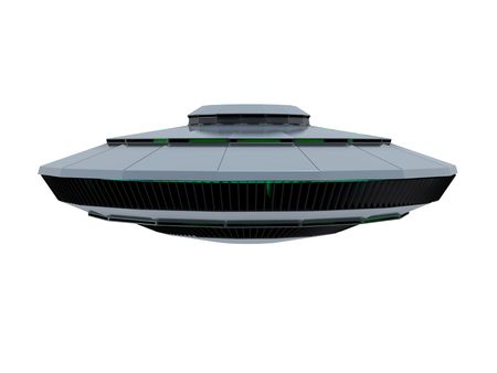 An isolated bluish ufo on white background Stock Photo - 7187780