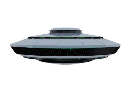 platillo volador: Un aislado ufo azulado sobre fondo blanco