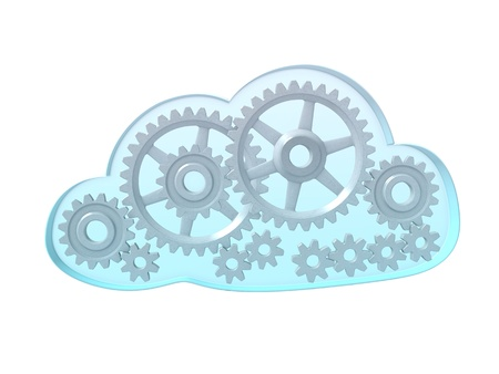 An isolated sky blue cloud full of gears on a white background Stock Photo