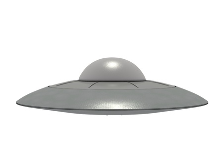 An isolated metallic ufo hovering on white background