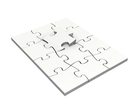 Completing jigsaw puzzle with last piece isolated on white background