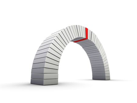An isolated arch with a red keystone on white background
