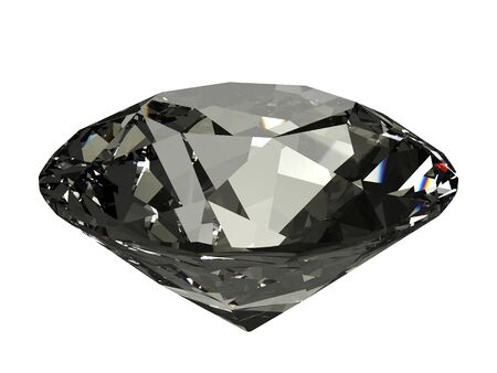 An isolated dark brilliant cut diamond on white background