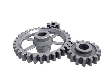 An isolated three cogwheels on white background Stock Photo
