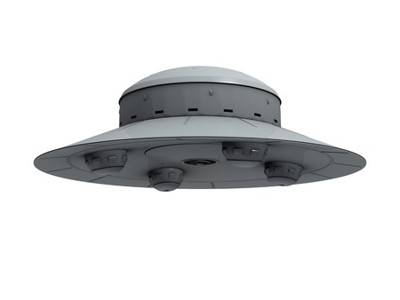 hemispherical: An isolated gray crude ufo with four hemispherical protrusions at the bottom hovering on white background