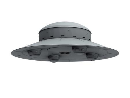 platillo volador: Un OVNI crudo gris aislado con cuatro protrusiones hemisféricas en la parte inferior revoloteando sobre fondo blanco