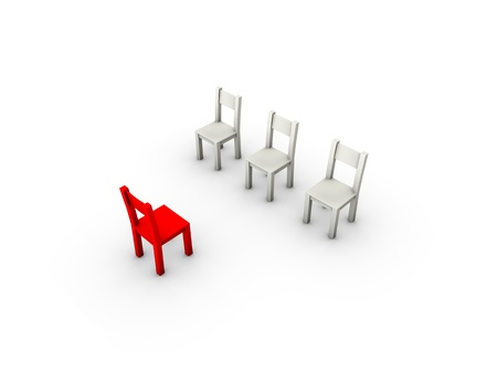 An isolated three simple gray chairs and a red one in front of them on white background