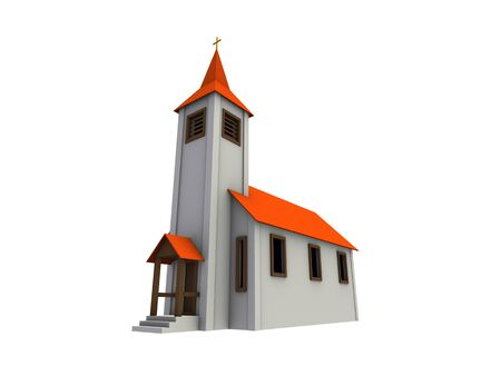 An isolated small chapel with a red roof on white background