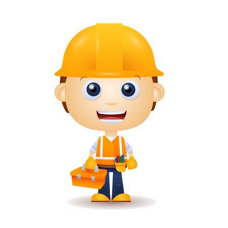 Ouvrier du bâtiment de dessin animé. Constructeur, constructeur en casque tenant l'illustration vectorielle de la boîte à outils. Bâtiment, chantier de construction, concept de réparation