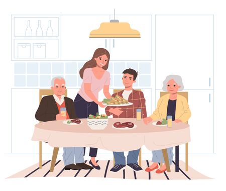 Familienessen zu Hause. Junge und ältere Paare, die zusammen an der flachen Vektorillustration des Esstisches essen. Generation, Urlaub, Elternkonzept für Banner, Website-Design oder Landing-Webseite