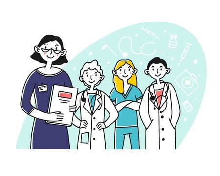 Hospital doctor staff. Team of physicians and nurse standing together flat vector illustration. Teamwork, medicine, occupation concept for banner, website design or landing web page Archivio Fotografico - 138197017