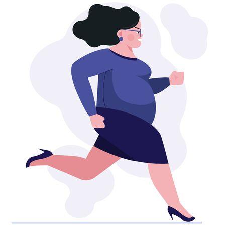 Mujer gorda de prisa. Empleada en zapatos de tacón corriendo a la ilustración de vector plano de oficina. Concepto de gestión de tiempo tardío para banner, diseño de sitios web o página web de destino