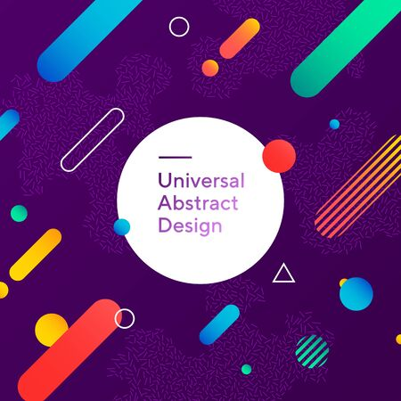 Colorful abstract background design. Geometric vector with graphic elements. Dynamical forms. Rounded and angled shapes. Multiple colors. Template for logo, flyer or presentation. Vector illustration Logo