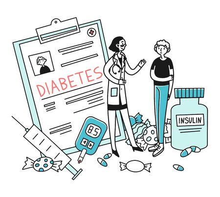 Diabetes patient diagnostic Ilustracja