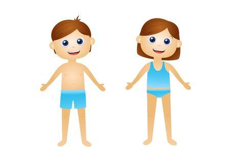 Niños de dibujos animados en la ilustración de vector de ropa interior Ilustración de vector