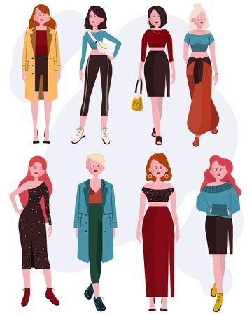 Set donna caucasica alla moda