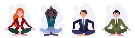 People meditating set Illustration