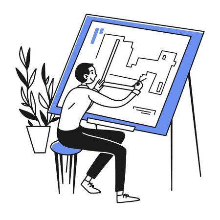 Architect drawing blueprint Ilustração
