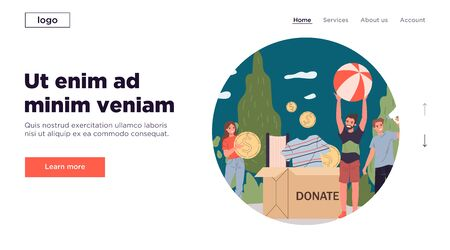 Positive young volunteers packing donation box. Container, clothing, cash flat vector illustration. Assistance, sharing, contribution concept for banner, website design or landing web page