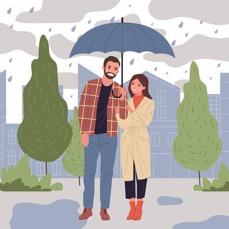 People in rain vector illustration Ilustração