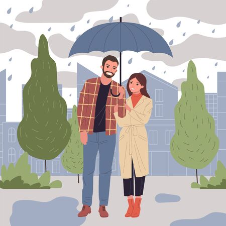 People in rain vector illustration