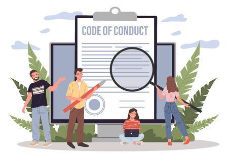 Gente de negocios que estudian la ilustración del vector del papel del código de conducta. Personas de oficina que trabajan en el documento de integridad ética de la empresa en la pantalla del portátil. Código de ética y valores empresariales